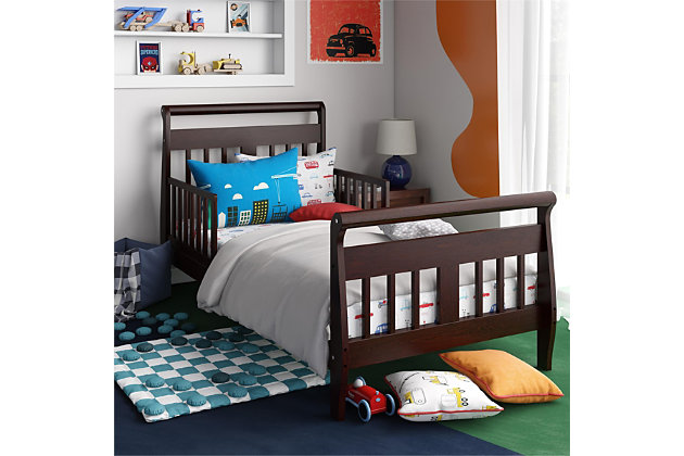 Baby Relax Sleigh Toddler Bed, Brown, large