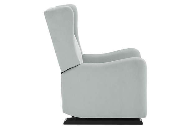Baby Relax Rylee Tall Wingback Nursery Glider Recliner Chair, Light Gray, large