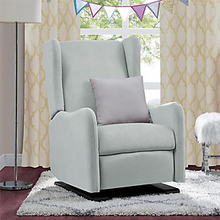 Baby Relax Rylee Tall Wingback Nursery Glider Recliner Chair, Light Gray, rollover