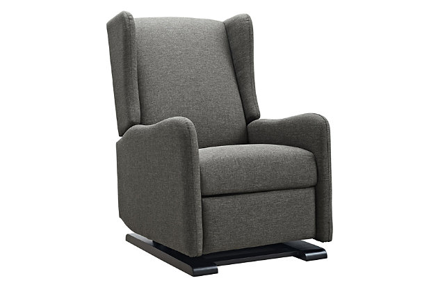 Baby Relax Rylee Tall Wingback Nursery Glider Recliner Chair, Gray, large