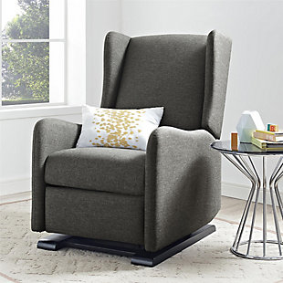 Baby Relax Rylee Tall Wingback Nursery Glider Recliner Chair, Gray, rollover