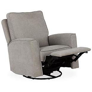 Baby Relax Jasmin Nursery Swivel Glider Recliner Chair, Gray, rollover