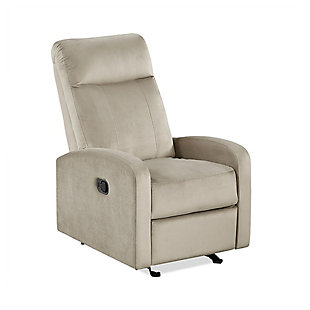 Dorel Atwater Living Velvet Rocking Recliner, Beige, large
