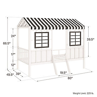 Little Seeds Rowan Valley Forest Loft Bed, White/Black, large