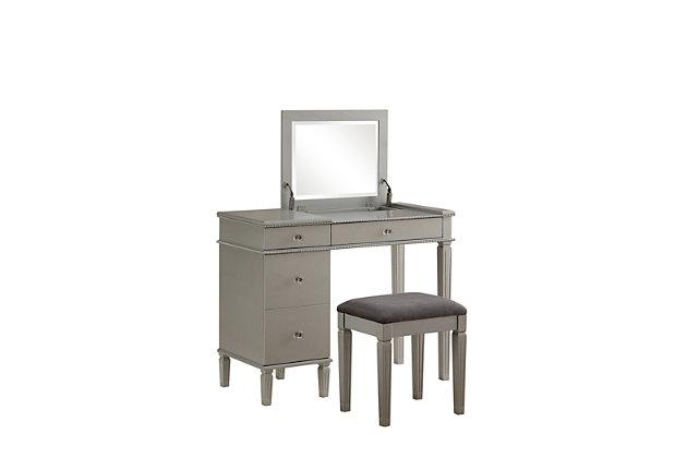 Linon Kelsey Silver Vanity, , large