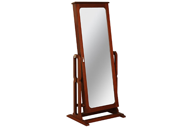 Powell Mirrored Jewelry Cheval, Marquis Cherry Finish, large