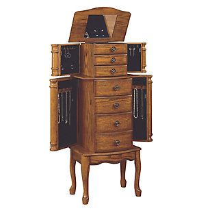Traditional Jewelry Armoire, Woodland Oak Finish, large
