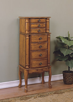 Traditional Jewelry Armoire, Woodland Oak Finish, rollover
