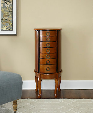 Elegant Jewelry Armoire, Burnished Oak Finish, rollover