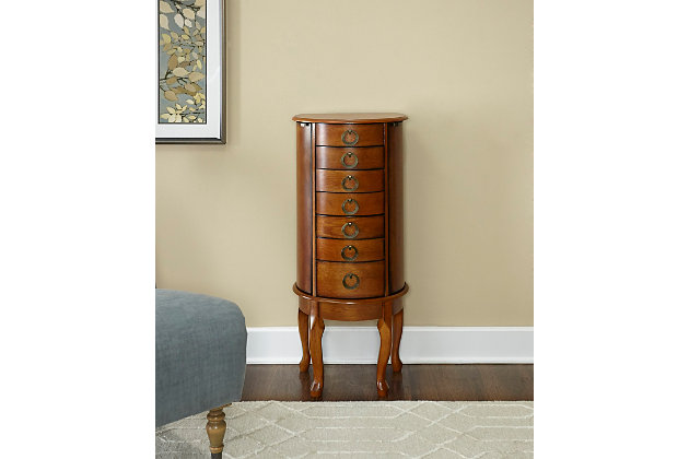 Elegant Jewelry Armoire, Burnished Oak Finish, large