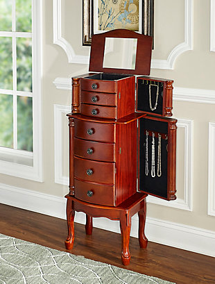 Jewelry Armoire with Lined Drawers, Classic Cherry Finish, large