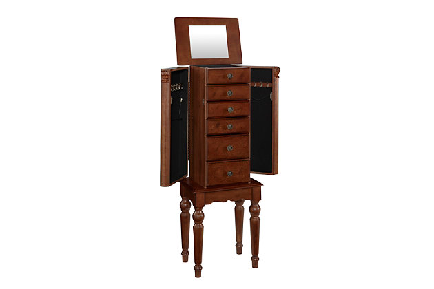 Powell Mirrored Flip-top Jewelry Armoire, , large