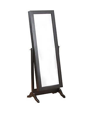 Full Length Sliding Mirror Jewelry Armoire, Black, rollover