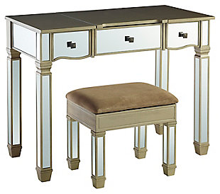 Bevel-cut Mirrored Vanity with Stool, , large