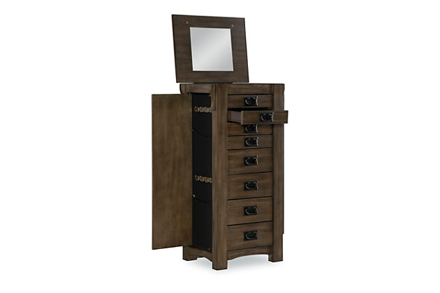 Oak Jewelry Armoire, Gray Brown, large