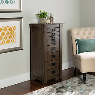 Oak Jewelry Armoire, Gray Brown, rollover