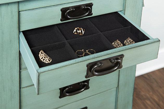 Oak Jewelry Armoire, Teal, large