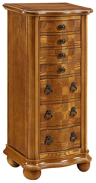 7 Drawer Jewelry Armoire with Flip Top, , large