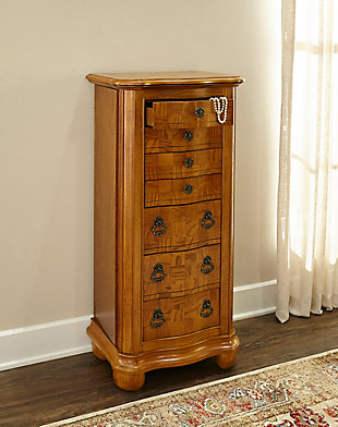 7 Drawer Jewelry Armoire with Flip Top, , rollover