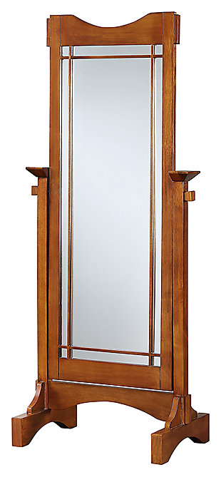 Powell Adjustable Oak Cheval Mirror, , large
