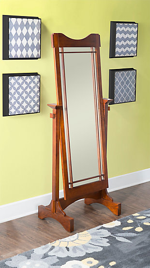 Powell Adjustable Oak Cheval Mirror, , rollover