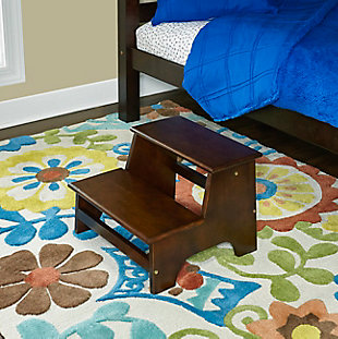 2-Step Bed Step Stool, Brown, rollover