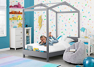 Delta Children Poppy House Twin Bed, Gray, rollover