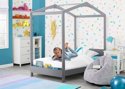 Delta Children Poppy House Twin Bed, Gray, large