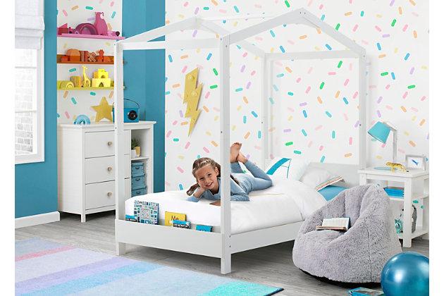 Delta Children Poppy House Twin Bed, White, large