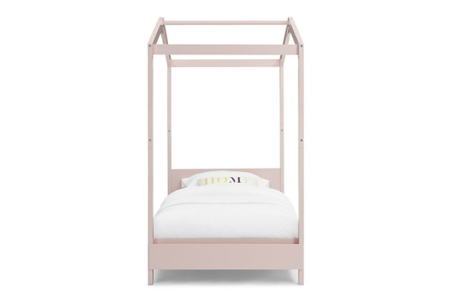 Delta Children Poppy House Twin Bed, Pink, large