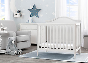 Delta Children Parker Mini Convertible Baby Crib with Mattress and 2 Sheets, White, rollover