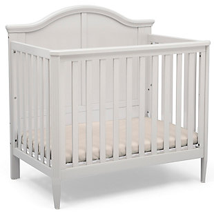 Delta Children Parker Mini Convertible Baby Crib with Mattress and 2 Sheets, White, large