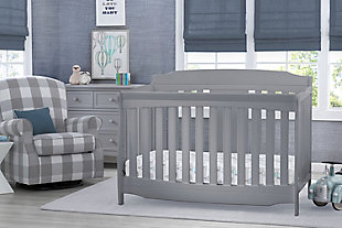 Delta Children Westminster 6-in-1 Convertible Baby Crib, Gray, rollover