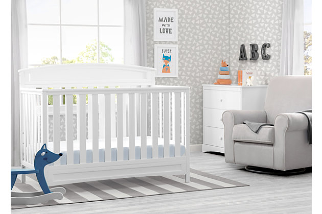 Delta Children Sutton 4-in-1 Convertible Crib, White, large