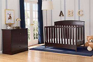 Delta Children Sutton 4-in-1 Convertible Crib, Brown, large