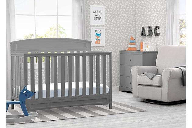 Delta Children Sutton 4-in-1 Convertible Crib, Gray, large