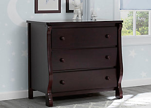 Delta Children Universal 3 Drawer Dresser, Dark Brown, rollover