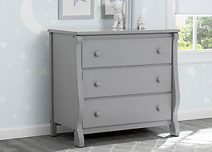 Delta Children Universal 3 Drawer Dresser, Gray, rollover