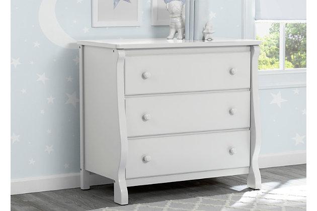 Delta Children Universal 3 Drawer Dresser, White, large
