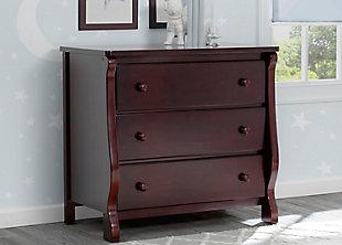 Delta Children Universal 3 Drawer Dresser, Brown, large