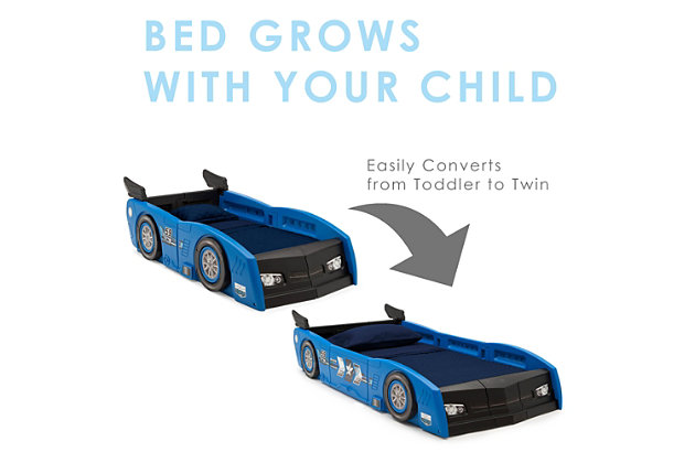 Delta Children Grand Prix Race Car Toddler and Twin Bed, Blue, large
