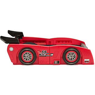 Delta Children Grand Prix Race Car Toddler and Twin Bed, Red, rollover