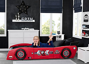 Delta Children Grand Prix Race Car Toddler and Twin Bed, Red, large