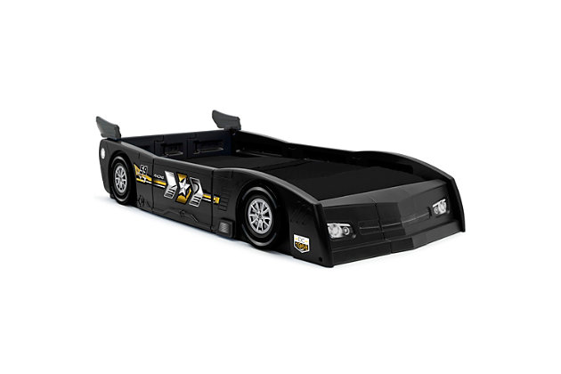 Delta Children Grand Prix Race Car Toddler and Twin Bed, Black, large