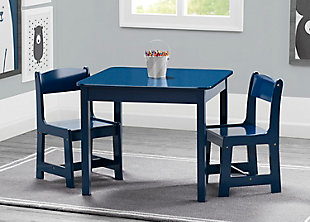 Delta Children MySize Kids Wood Table and Chair Set (2 Chairs Included), Blue, rollover