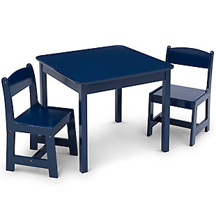 Delta Children MySize Kids Wood Table and Chair Set (2 Chairs Included), Blue, large