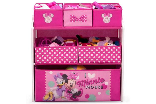 Delta Children Disney Minnie Mouse 6 Bin Design And Store Toy Organizer, , large