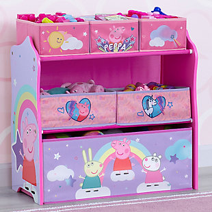 Delta Children Peppa Pig 6 Bin Design and Store Toy Organizer, , large