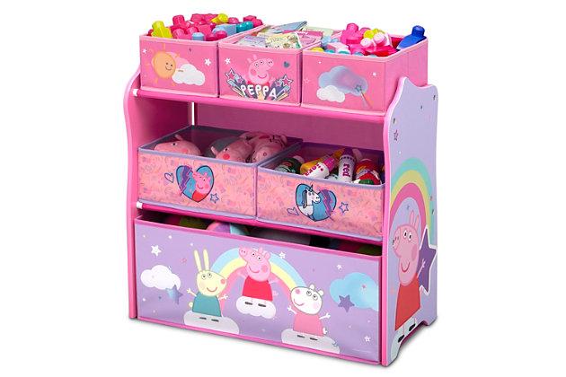 Delta Children Peppa Pig 6 Bin Design And Store Toy Organizer, , large