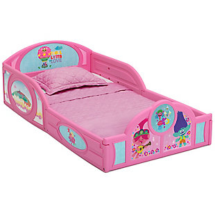 Delta Children Trolls World Tour Plastic Sleep and Play Toddler Bed, , large